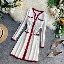 يونغ جي الخريف النساء أزياء محبوك فستان بأكمام طويلة الخامس الرقبة السيدات البلوفرات الشتاء Vintage أزرار النحل فساتين سترة