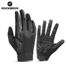 ROCKBROS Windproof Cycling Bicycle Gloves Touch Screen Riding MTB Bike Glove Thermal Warm Motorcycle Winter Autumn Bike Clothing cheap NYLON COTTON Stretch Spandex Full Finger Winter autumn sport gloves Washable Gloves Mittens Men Women Winter Autumn