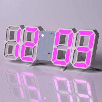 Led Digital Wall Clock Modern Design Watch Clocks 3D Living Room Decor Table  Alarm Nightlight Luminous Desktop 17