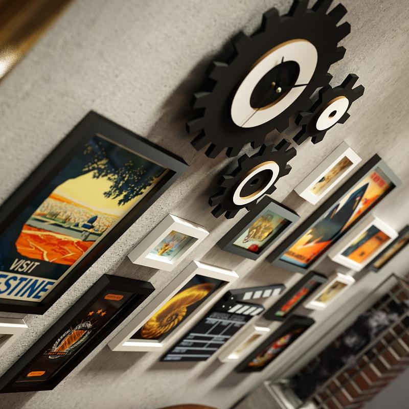 Американская фоторамка креативная фоторамка сочетание часов промышленная ветровая подвесная стена для гостиной фото Настенная роспись ук... - 2
