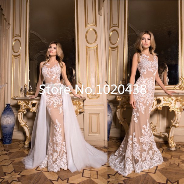 Sexy 2018 Sheer Neck Champagne Mermaid Lace Appliques Removable Skirt Prom Gown Off The Shoulder Mother Of The Bride Dresses