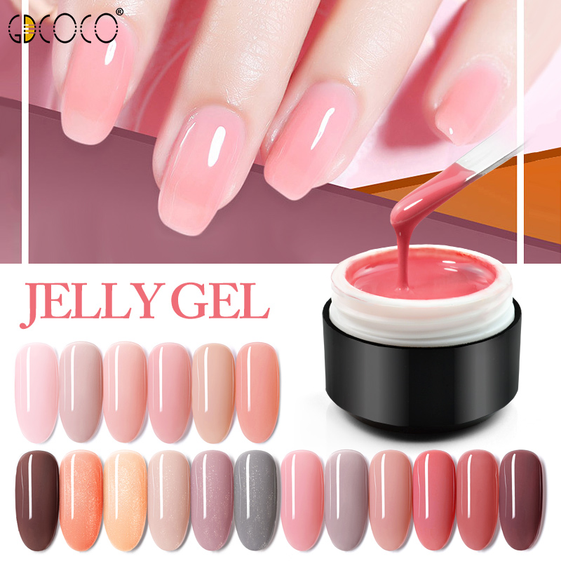 GDCOCO New Arrival Jelly Gel Nude Color Nail Gel Polish Glitter Color Transparent Clear Nail Varnish Soak Off UV LED Gel Varnish