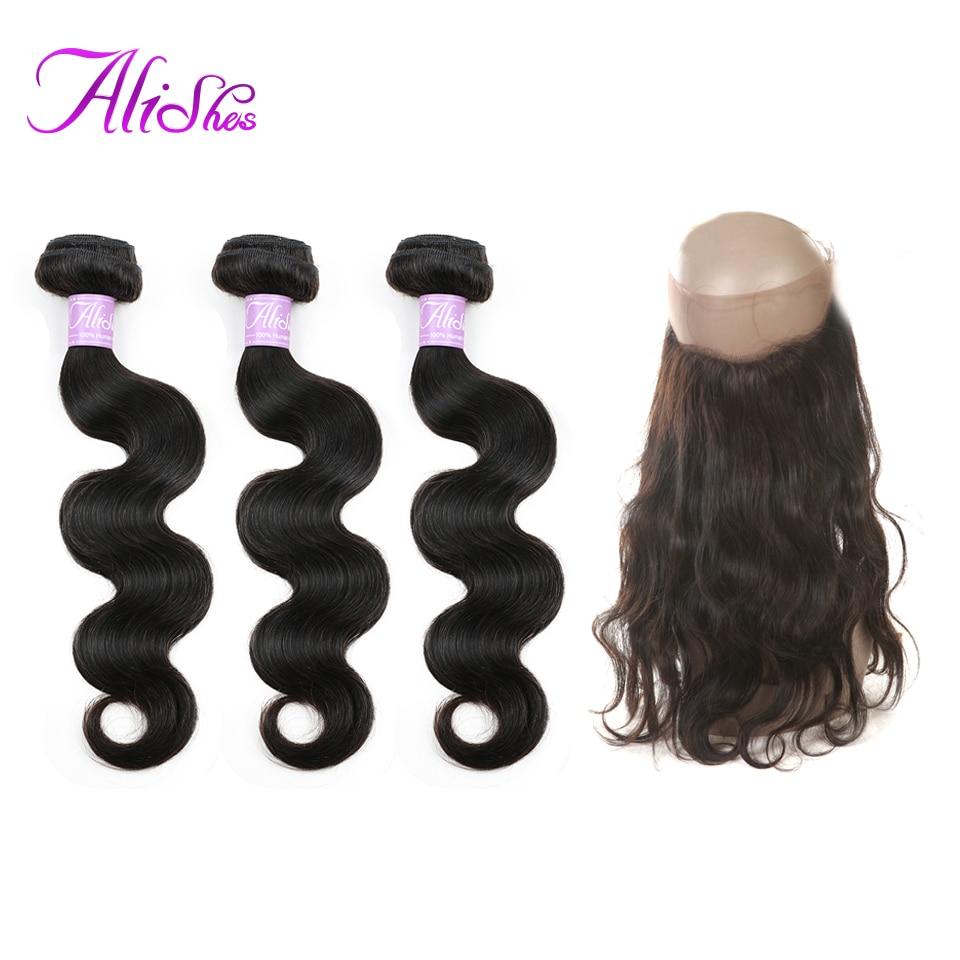 Alishes 毛 360 レースフロント閉鎖 100% レミー人間の髪ブラジル 3 バンドルと 360 フロント自然な色  グループ上の ヘアエクステンション & ウィッグ からの 3/4 バンドル留め具付き の中 1
