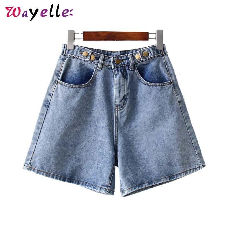 Базовые джинсовые женские шорты с широкими штанинами и высокой талией, шорты на молнии, дизайнерские шорты с карманами, однотонные