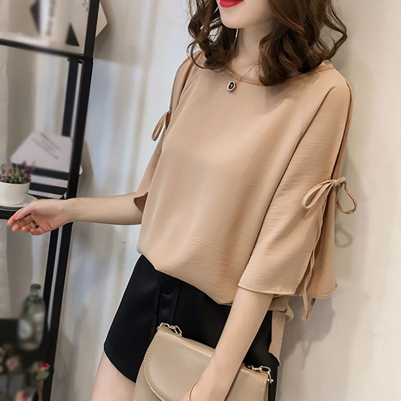 2019 New Women Bow Split Shirts Summer Casual Three Quarter Sleeve Lace Up Chiffon Solid Color Loose O Neck Blouses Tops in Blouses amp Shirts from Women 39 s Clothing