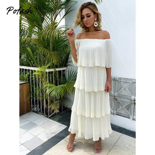 Pofash Chiffon Beige Solid Summer Dress Women Off Shoulder Cascading Ruffle Midi Dresses Female Backless Casual Vestidos 2021 4