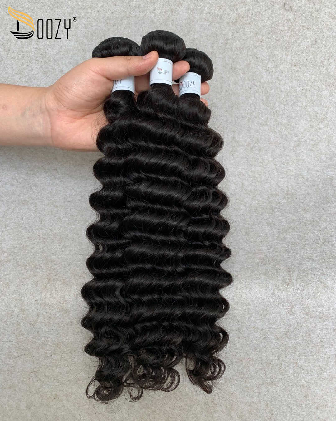 Pelo Doozy 10A onda profunda cabello humano virgen peruano 3 paquetes con cierre de encaje