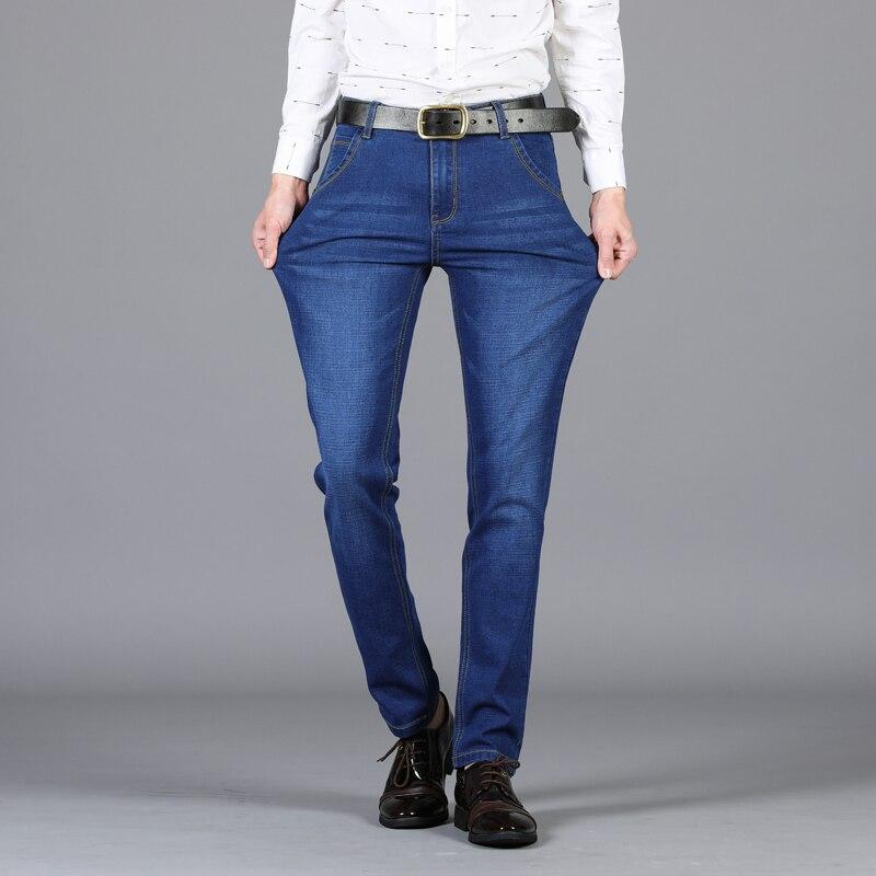 Men's Jeans Slim Straight Korean Large Size Casual Jeans Stretch Long Pants Men