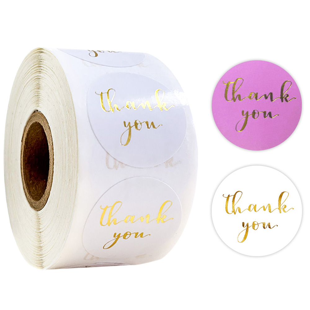 500pcs Thank You Stickers 1 Inch Sealed Label Gold Foil Round Purple White Optional Wedding Party Decoration Stationery Sticker