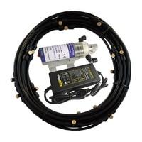 S287 Self Priming Pump 15W Quiet Water Pump Watering Kit 6pcs/11pcs/16pcs Nozzle Mist System for Greenhouse Humidification