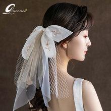 Белая лента ручной работы фата свадебные украшения цветок свадебная