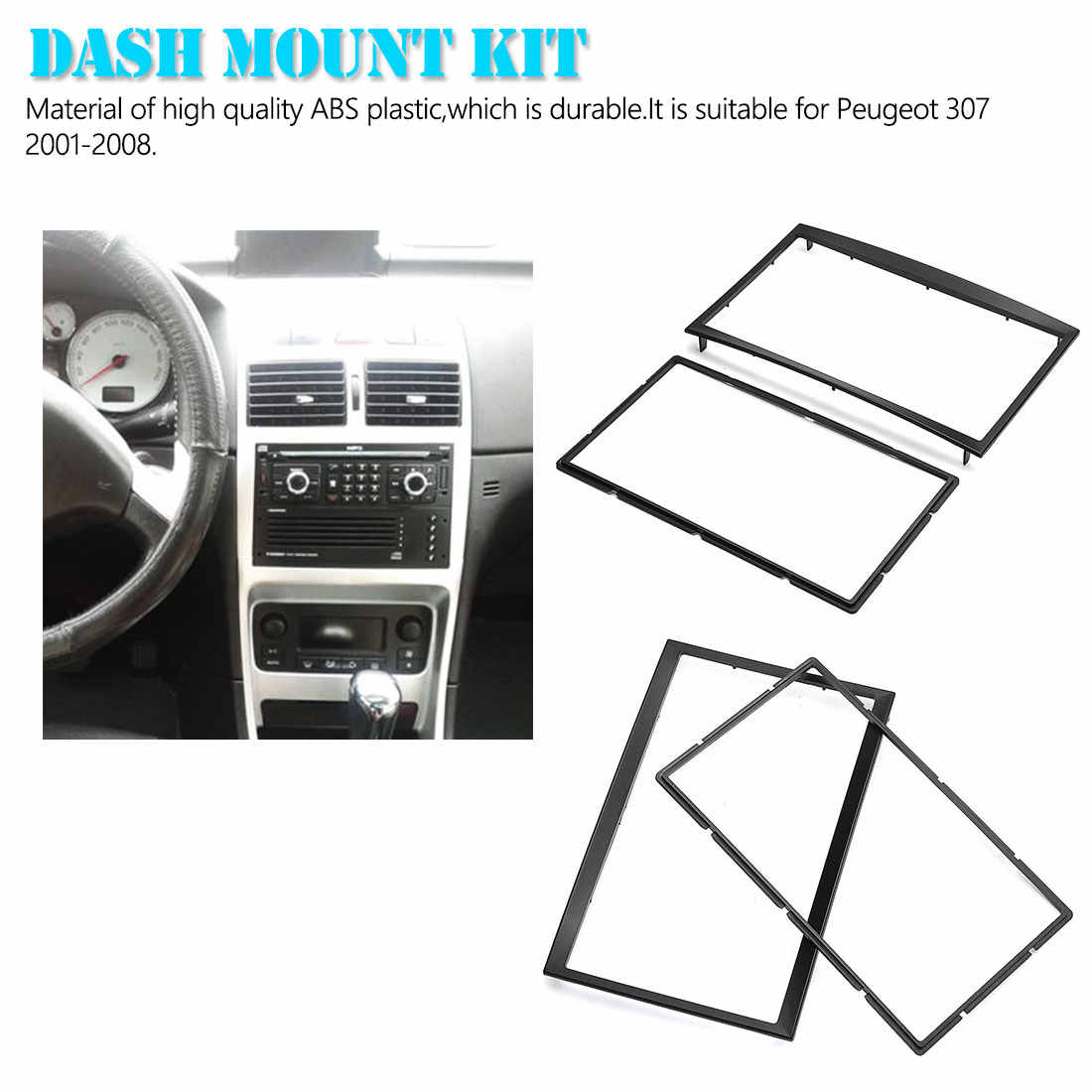 車の自動車 2 Din CD トリムダッシュマウントキットステレオラジオ筋膜ダッシュボードパネルプレートフレーム用プジョー 307 2001-2008