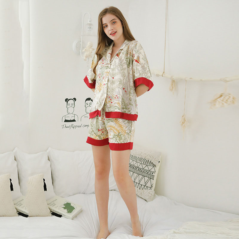 Summer Fresh And Breathable Comfortable Printed Short-Sleeved Tops With Shorts Two-Piece Home Suit Women Lounge Wear Pajamas