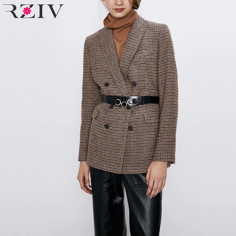 RZIV Autumn And Winter Women's Suit Casual Plaid Double-breasted Suit