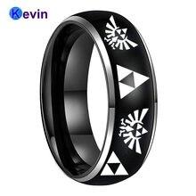 Модное кольцо черный Мужской Перстень tungsten 8 мм с гравировкой