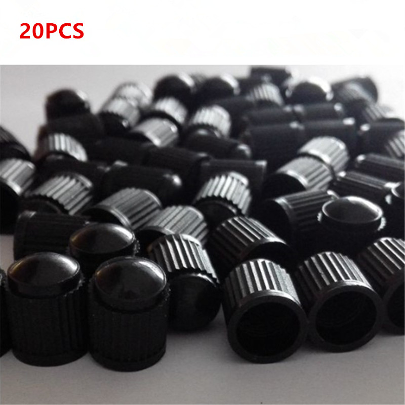 20pcs Car Tyre Valve Dust Caps Dome Shape Wheel Stem Air Valve Black Auto Truck Bike MTB Tyre Caps Car Tire Valve Plastic Cap