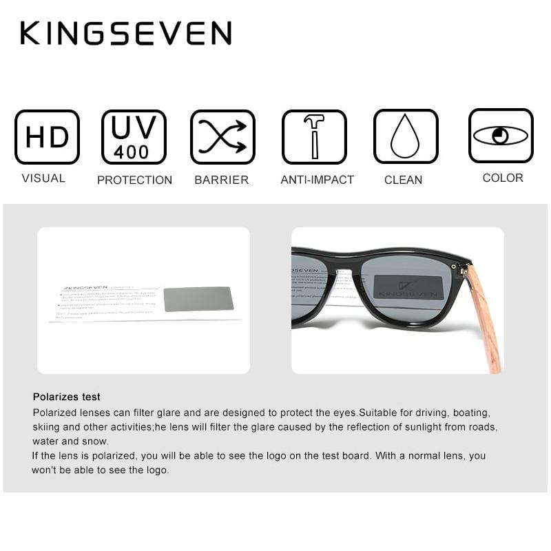 KINGSEVEN Women's Glasses Natural Bubinga Wooden Sunglasses Men Polarized Fashion Sun Glasses Original Wood Oculos de sol 5