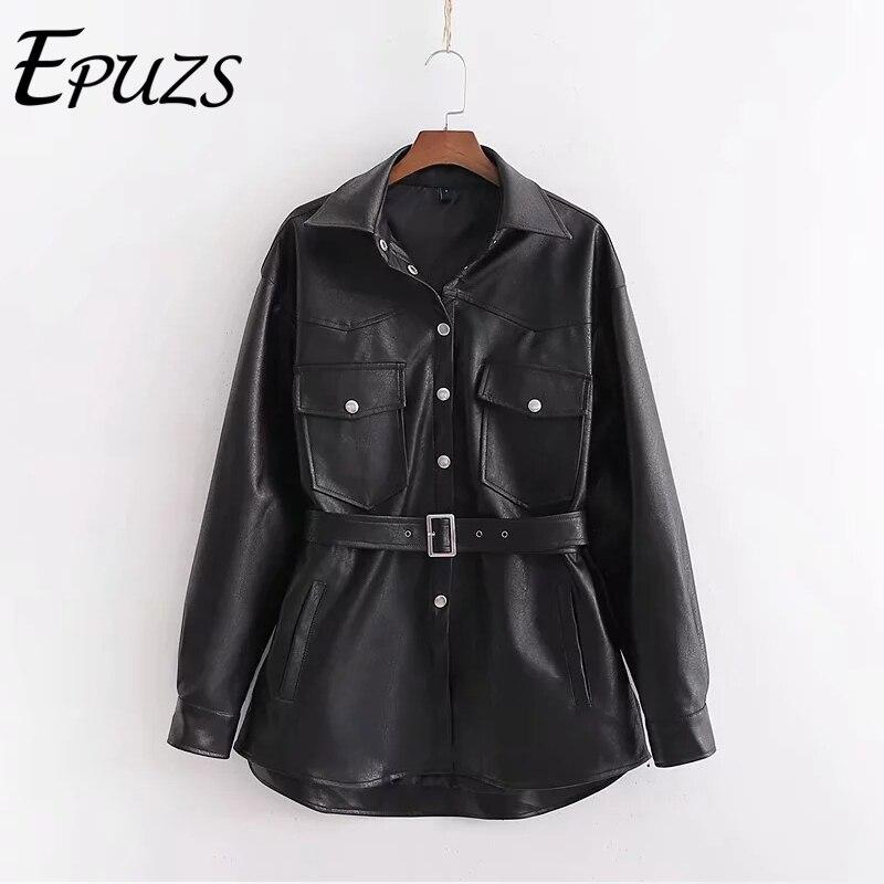 Winter black PU biker jacket women sashes Faux   leather   jacket women Punk Motorcycle Coat oversize ladies fur jacket 2019