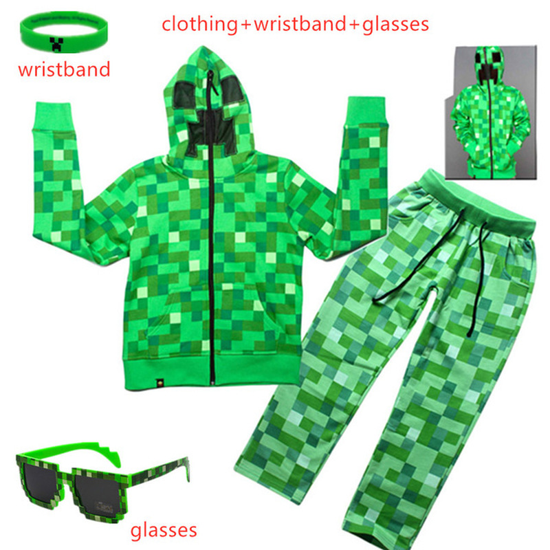 Kids Boys Girls Winter Outwear Minecrafters Cartoon Clothes Sweatshirts Long Sleeve Christmas Shirt Game Creeper Cosplay Suits