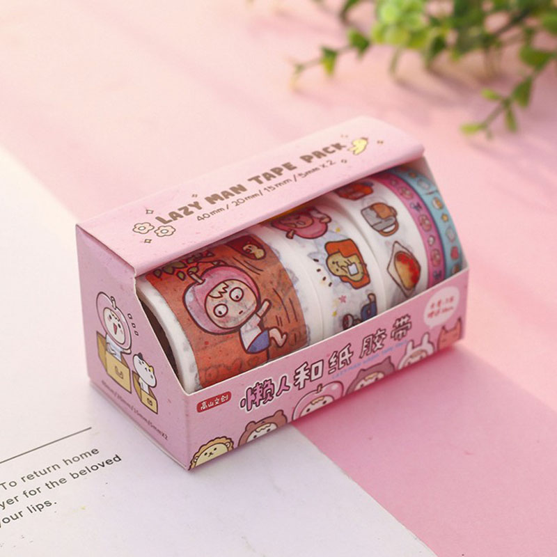 1 Set Kawaii Lazy Girl Washi Tape Adhesive Tape DIY Scrapbooking Sticker Label Masking Tape Korean Stationery School Supplies