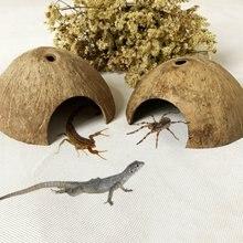Натуральная Кокосовая Скорлупа ящерица паук маленькая домашняя