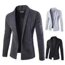 Mens Solid Blazer Cardigan Long Sleeve Casual Slim Fit Sweater Jacket Knit Coat -OPK