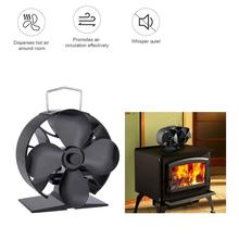4/8 Blade Fireplace Fan Heat Powered Stove Fan Stove Fan Wood Burner Eco Friendly Quiet Fan Home Efficient Heat Distribution free shipping cheap heat powered stove fan in black gold silver coppery blade