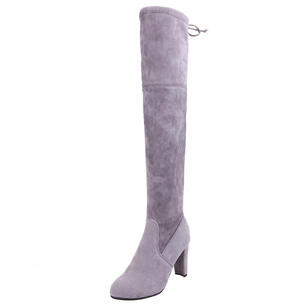 รองเท้าสำหรับสตรี 2019 Elegant ยาวรองเท้าสตรีโรม Solid Chunky Heels ลูกไม้ยาว Booties retro รองเท้า