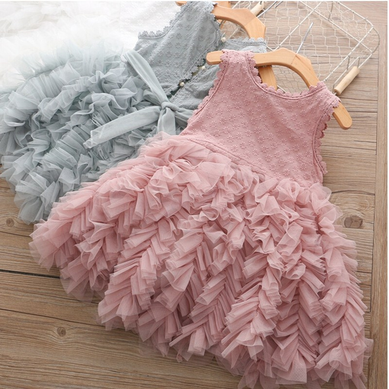 H485e161f81b148fba557a079618676a98 Girls Dress 2019 New Summer Brand Girls Clothes Lace And Ball Design Baby Girls Dress Party Dress For 3-8 Years Infant Dresses
