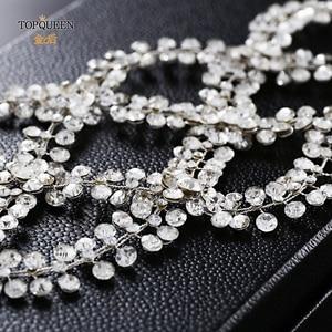Image 3 - TOPQUEEN HP243 Diadema de lujo para novia, tocado de boda, Pamelas y tocados para bodas, boda con Tiara de diamantes de imitación, entrega rápida