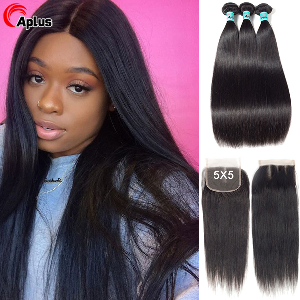 Straight Hair Bundles With 5x5 Closure Brazilian Hair Weave Bundle Remy Human Hair Lace Closure With 3 Bundles Natural Color