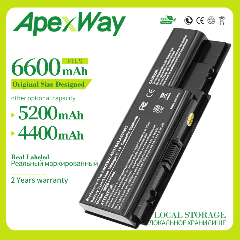 Apexway 11.1V Laptop Battery For Acer AS07B31 AS07B32 For Aspire 5715 5910G 5935 5935G 8530 5940G 8942G 7230 7630 image