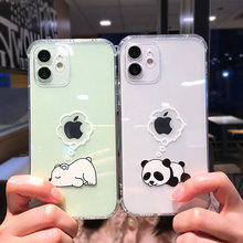 Creative Bear Panda Animal Phone Case For iPhone 11 12 Pro Max Mini Clear Shockproof Lens Protection For iPhone X XS XR 7 8 Plus