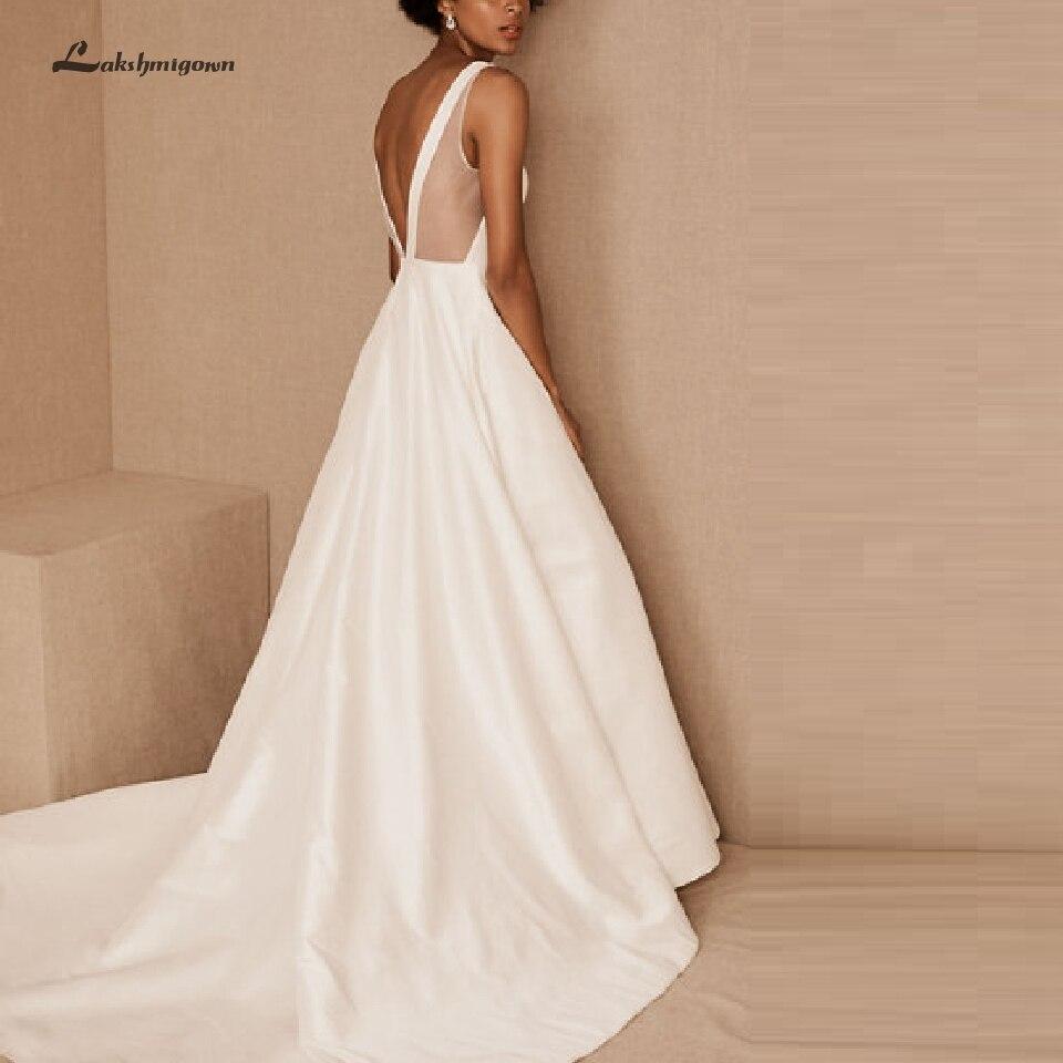 Lakshmigown A Line Wedding Dress Satin Corset Backless Sexy Bridal Dress LongTrain Wedding Gowns 2020 Robe De Mariée