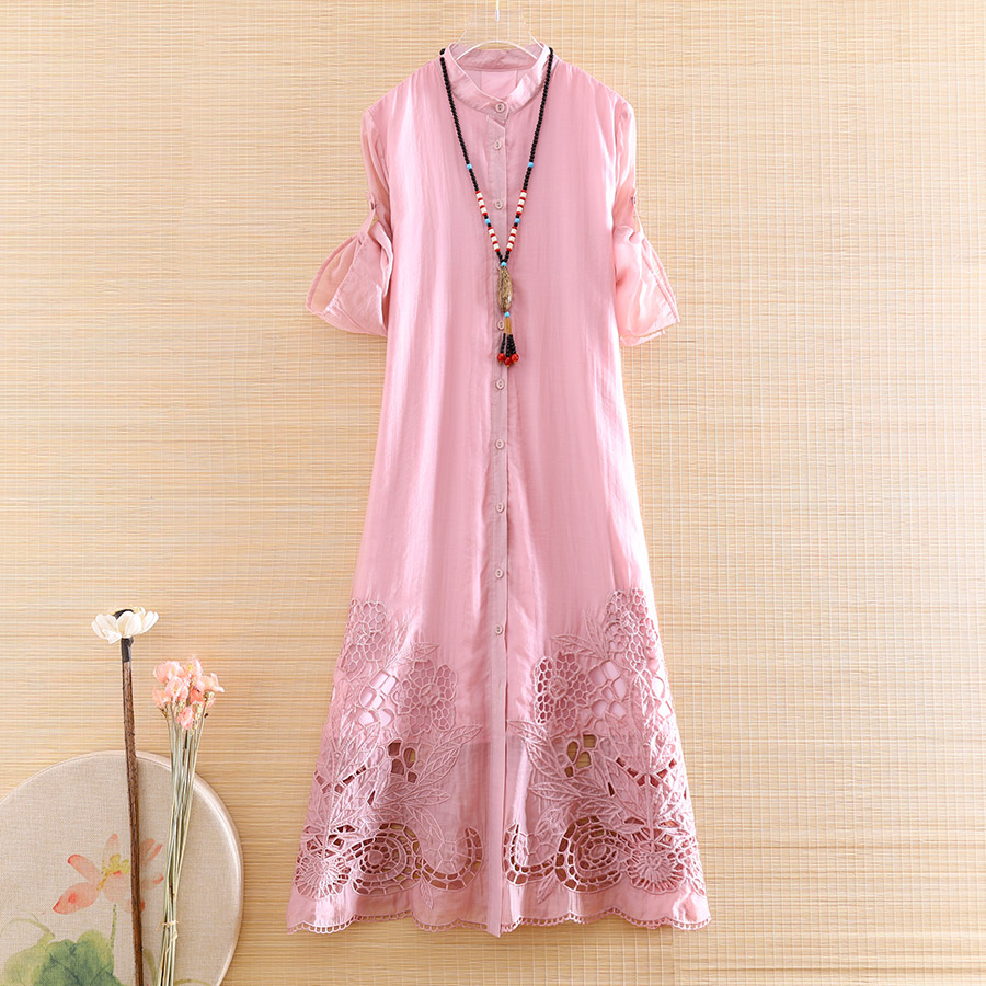 High-end Spring Summer Women Cheongsam Dress Retro Elegant Embroidery Loose A-line Lady Hollow Out Party Qiapao Dress S-XXL