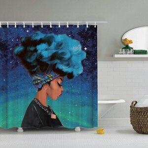 Image 1 - Dafield cortina de ducha africana para niña, cortina de ducha Afro de pelo azul, cortina de baño africana