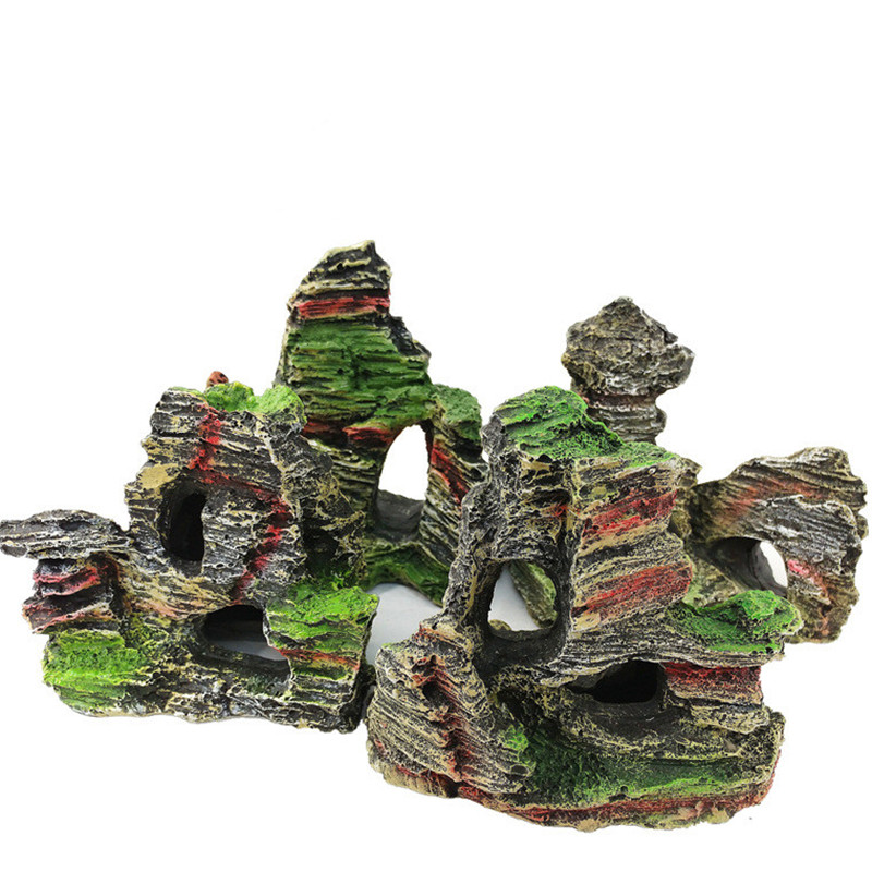 1PC Mountain View Aquarium Decorative Stone Simulation Resin Cave Aquarium Decoration Decorative Landscape Decoration