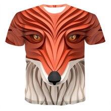 Летняя мужская футболка с коротким рукавом и 3d принтом животного