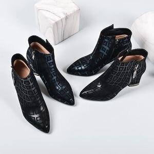 Image 5 - ALLBITEFO ポインテッドトゥの女性ブーツ印刷本革エレガントな秋冬女性のファッションブーツ快適な