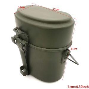 Image 5 - ドイツミリタリーグリーン3個で1キャンプ調理器具クックセットハイキングサバイバル弁当弁当箱ポット/ボウルwhosale & ドロップシップ