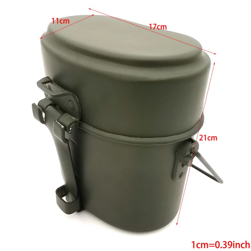 Germany Military Green 3pcs in 1 Camping Cookware Cook Set Hiking Survival Bento Lunch Boxes Pot/Bowl Whosale&Dropship