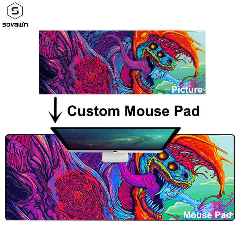 Custom Large Mouse Pad Rubber XL DIY Locking Edge Gaming Mouse Pad XXL Mouse Mat Anime 900x400mm For Keyboard Csgo Hyper Beast