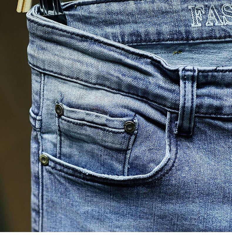 KSTUN Ripped Jeans for Men Slim Fit Light Blue Stretchy Fashion Mens Torn Jeans rip Moto Biker Jeans Pants Men Trousers Hip Hop Boys 16