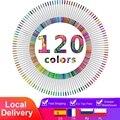 До 120 Цвета фломастеры ручки расцветки для взрослых набор акварель кисти ручки есть 2 мм кончик кисти и 0,4 мм тонкий наконечник