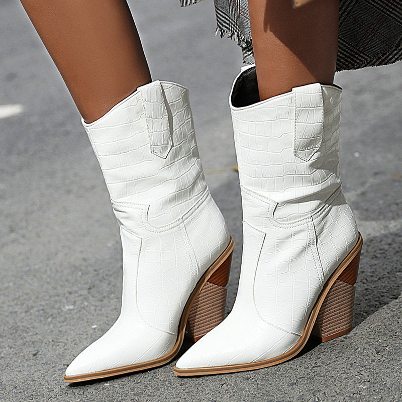Faux Leather Western Boots for Women
