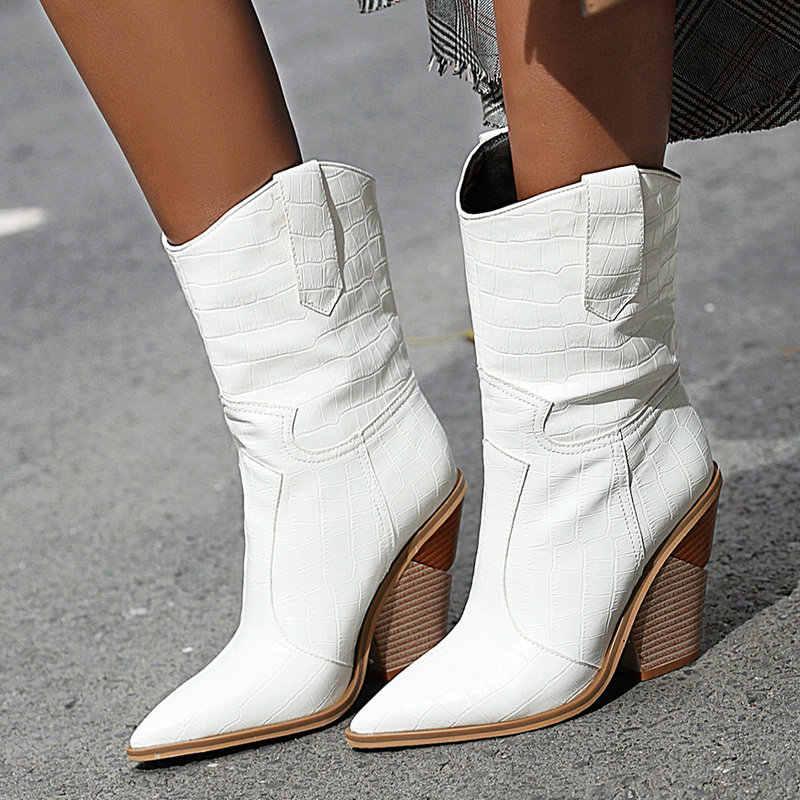 Suni deri kadınlar için batı çizme 2019 kare topuk kovboy çizmeleri kırmızı sarı siyah beyaz yarım çizmeler bayanlar kış kısa çizmeler