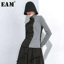 [EAM] Женская Черная футболка контрастного цвета на пуговицах с разрезом, новая модная футболка с воротником-стойкой и длинным рукавом, весна-осень, 1H150