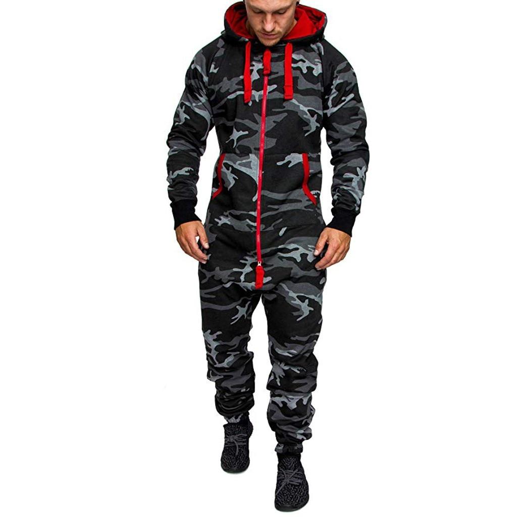 Jumpsuits Men Hoodie Print Zipper Print Sleepwear Splicing Autumn Winter Casual Hooded Print Zipper Print Jumpsuit For Man