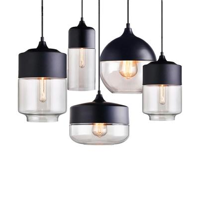 Nordic LED Pendant Lights Clear Glass Lampshade Loft Pendant Lamps E27  110- 220V Dinning Room Home Decoration Lighting Fixtures