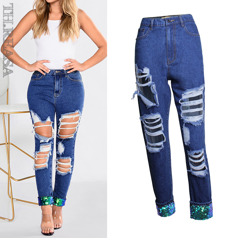 European And American BF Style Women's Sequined Straight Cylinder Beggars Big Hole Jeans Loose Pants